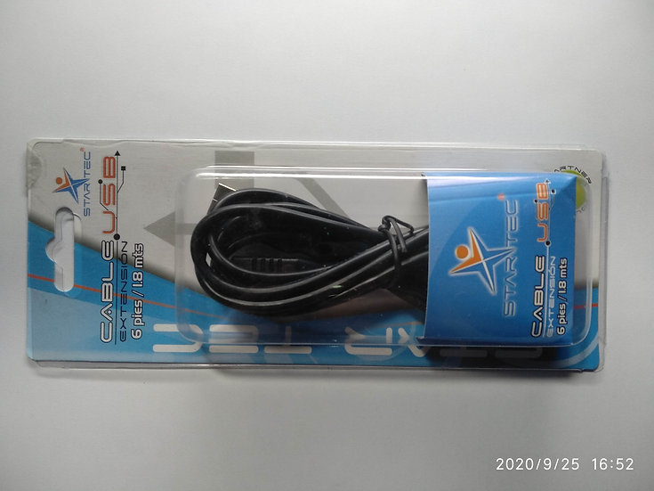 Cable Star Tec 2.0 Extension Usb 1,8Mts (6Ft) Negro Blister