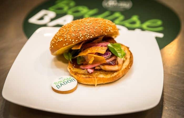 pere et fish burger saumon bourse badoit