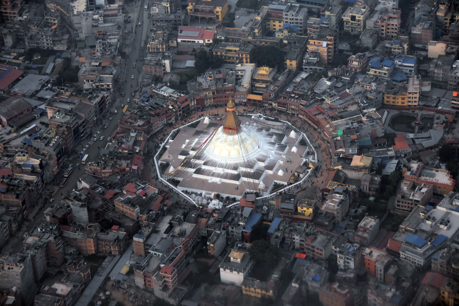 Aerial view of Boudhanath Stupa