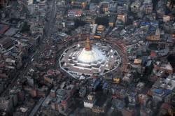 Aerial view of Boudhanath Stupa
