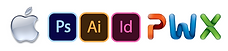 Mac logo, Adobe Photoshop, Illustrator, InDesign, Powerpoint, Word and Excel logos