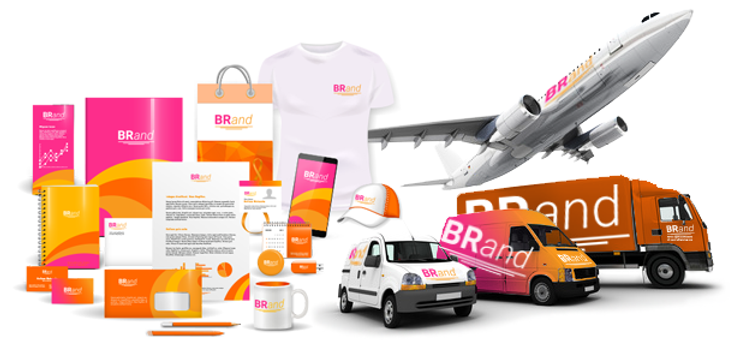 Complete line of branded items: marketing materials, clothing, vehicles, airplane