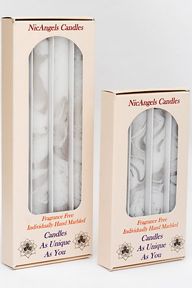 White & Silver candles, fragrance free