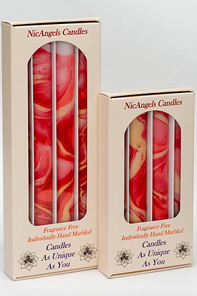 Pink Blend B, Ruby & Gold hand marbled fragrance free candles