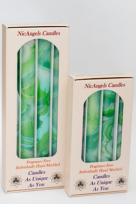 Light Green, Rich Green, Silver & Aqua Green fragrance free candles