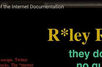 An HTML website project that explores the possibility of the end of the internet, and what that might look like. For my Net Art class. Fall 2019