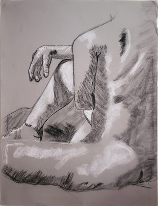 Figure Drawing, charcoal on toned paper