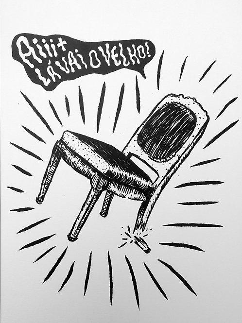 Broken Chair Caridade Homemade Screen-print