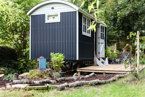 Glamping in the woodland garden.