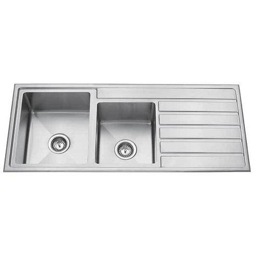 Premium Top Mount 1 + 3/4 Bowl Kitchen Sink with Drainer - 1200mm