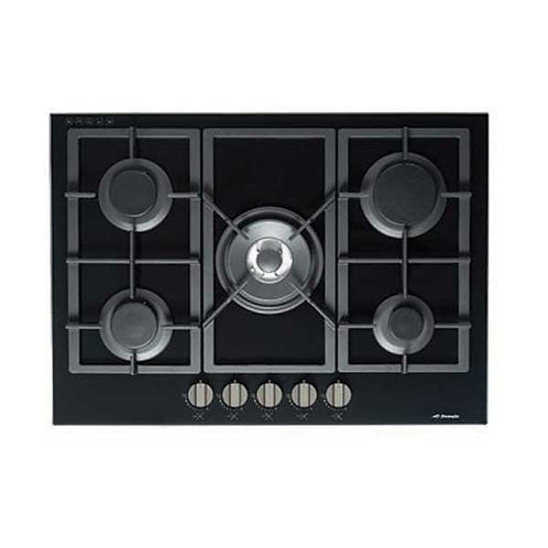 Premium Black Gas-On-Glass Cooktop with Flat Trivet Supports - 700MM