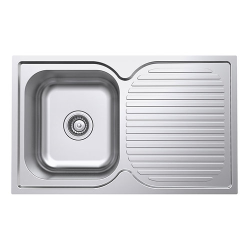 Polished Single Bowl Kitchen Sink and Drainer - 780mm