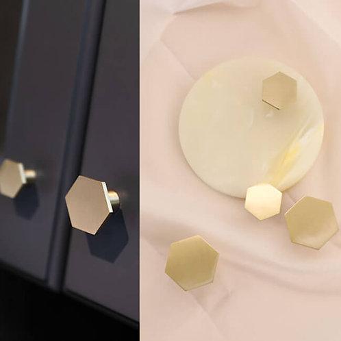 Knobs Button Hexagon Brass