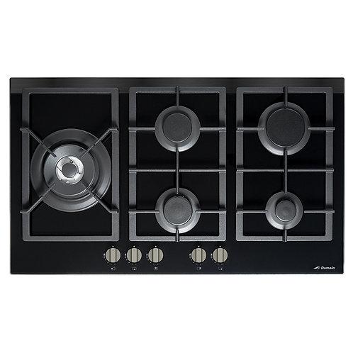Premium Black Gas-OnGlass Cooktop Flat Trivet Supports + Side Wok - 870MM