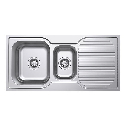 Polished 1 + 1/2 Bowl Kitchen Sink and Drainer - 980mm