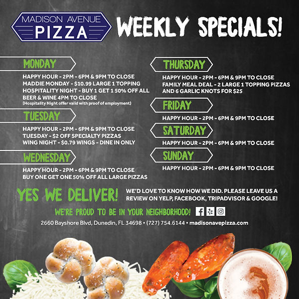 2019 Madison Ave. Weekly Specials Social