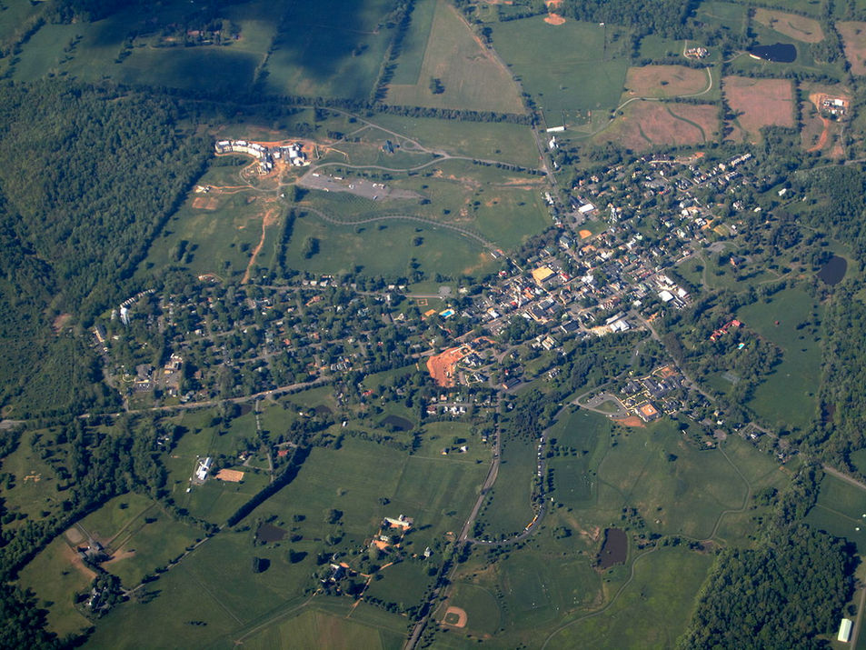 Aerial View Middleburg, Virginia