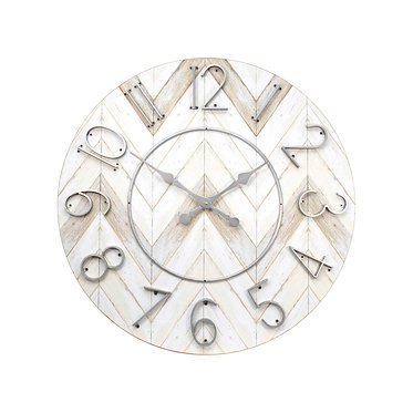 White and grey clock with raised silver numbers