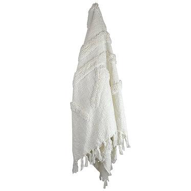 White Tasselled Throw Rug