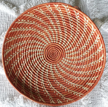 Genuine Handcrafted African Woven Serving Mat (With Hanger) Orange