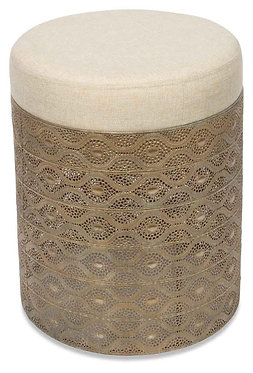 Decorative Metal Stool With Padded Seat(White Only)