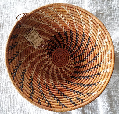 Smaller Genuine Handcrafted African Woven Serving Bowl (With Hanger)Ochre