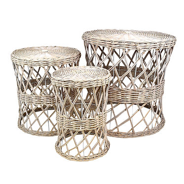 Cane Tables Set Of 3