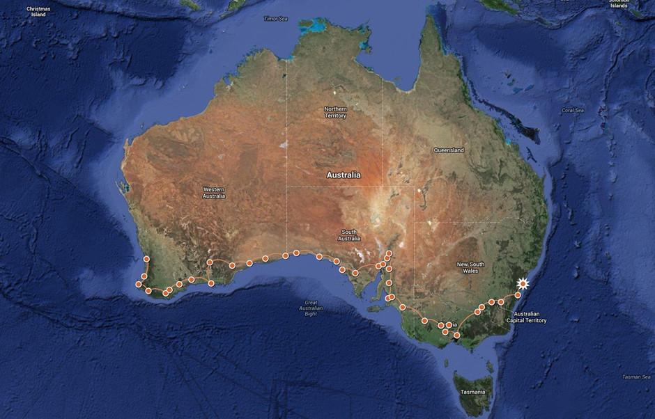 Perth to Sydney - 5,600 km