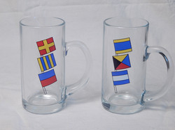 16oz Glass Mugs w/ Nautical Flags