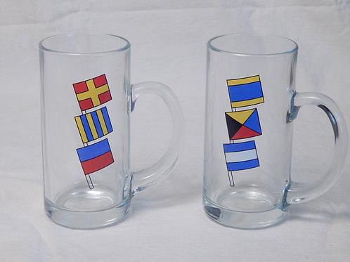 16oz Glass Mugs w/ Nautical Flags (2)