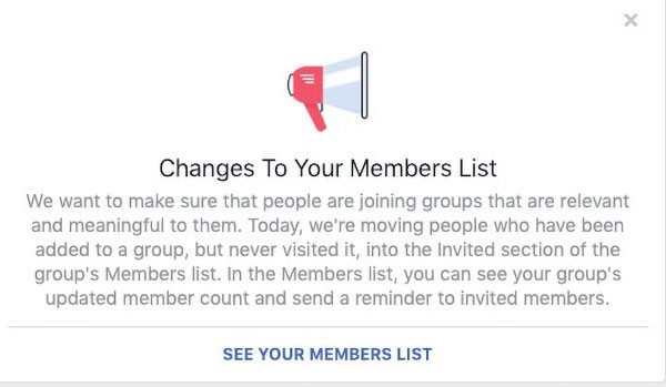 FB Change To Our Members List