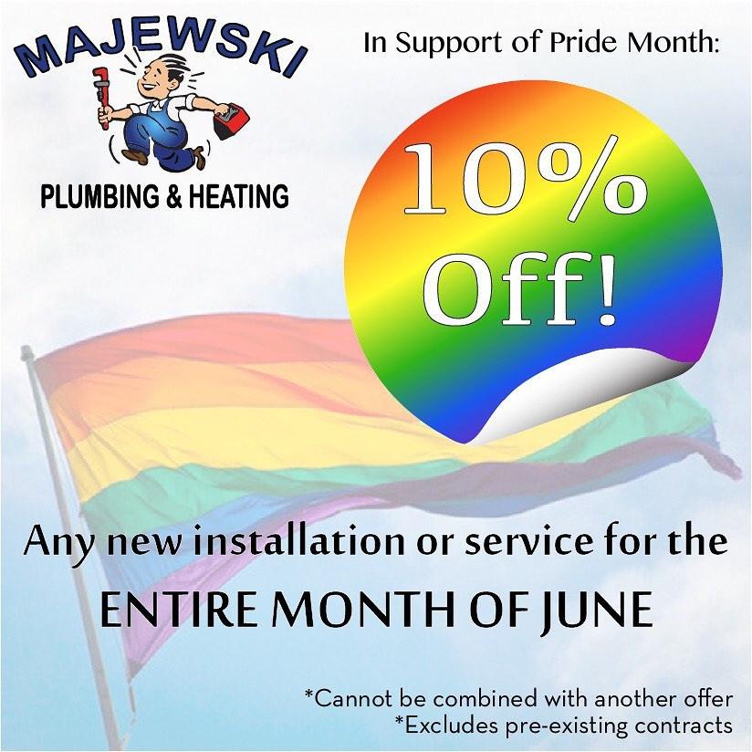Majewski Pluming Gay Pride Month Discount