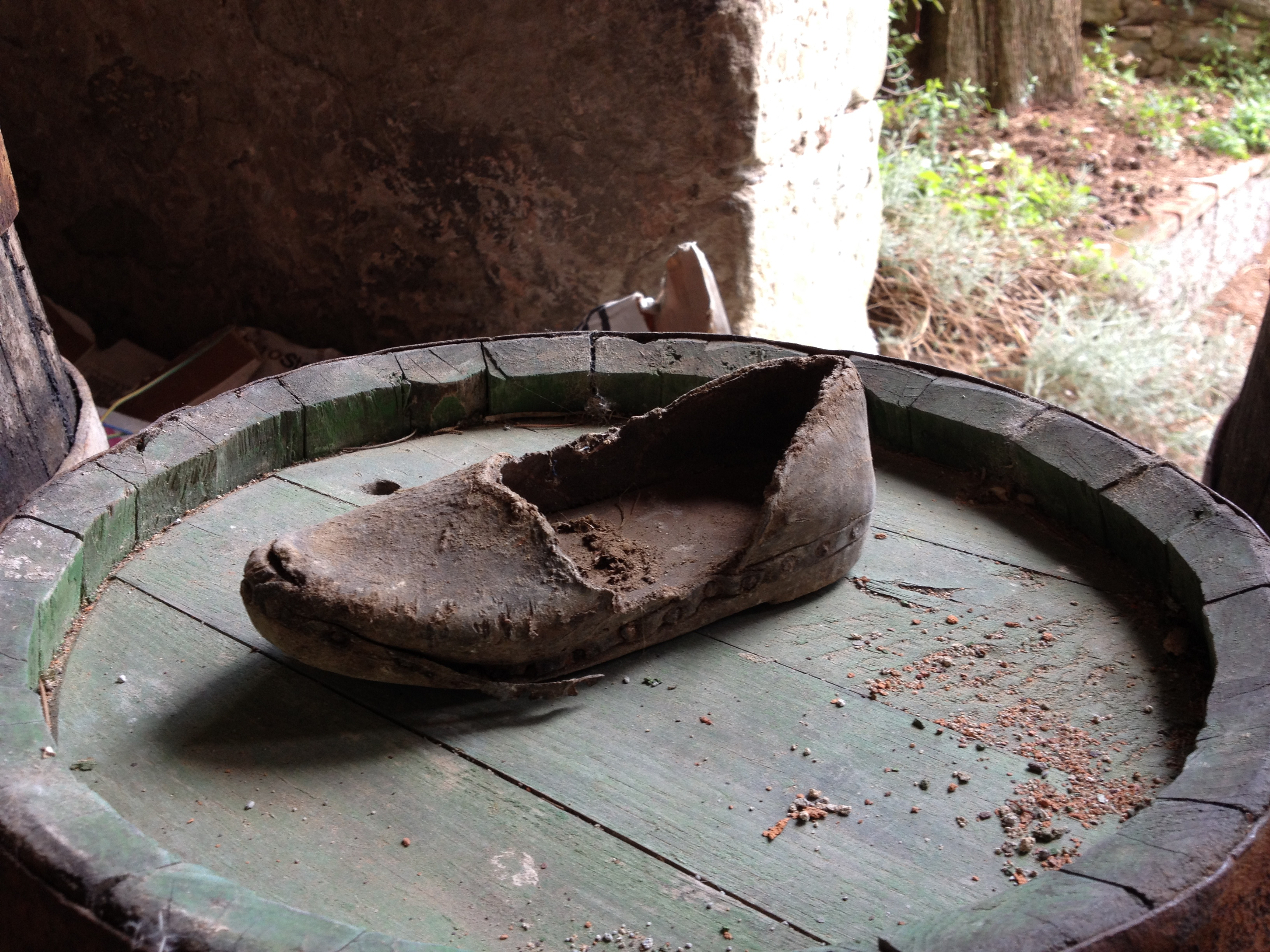 Ancient baby wooden shoe