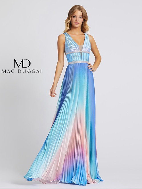 Pleated Blue Ombre Gown