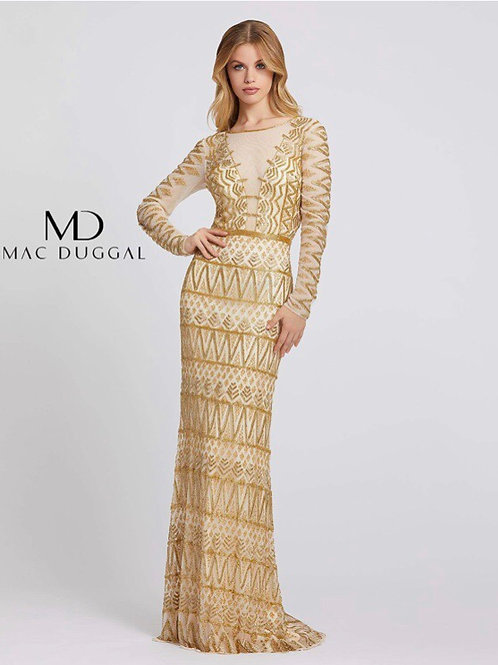 Long Sleeve Gold Geo Design Gown