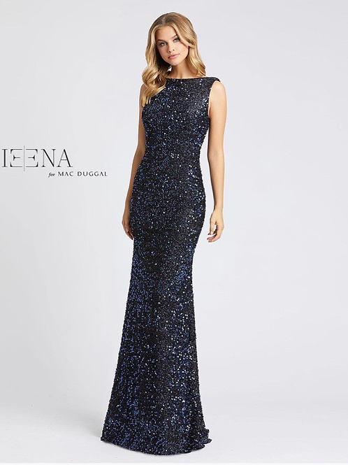 Fully Sequin Gown High Neck and Train