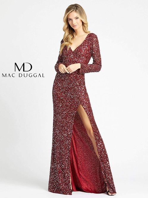 Sparkling Long Sleeve Gown V-Neck