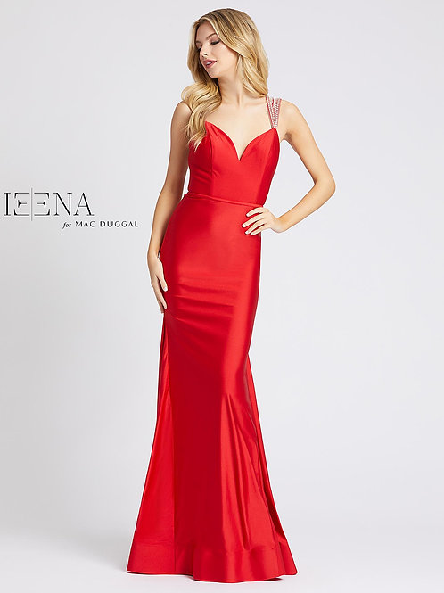 Mermaid Gown with Embellished Straps Red or Black