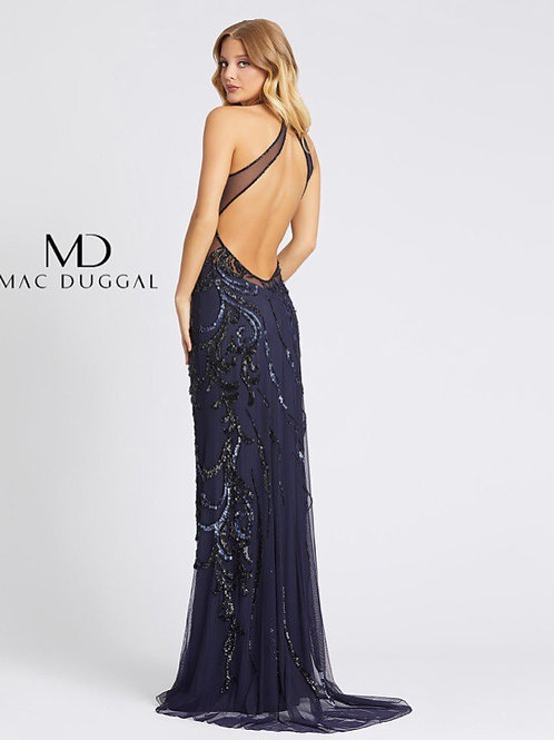 Halter Gown with Mesh Accents