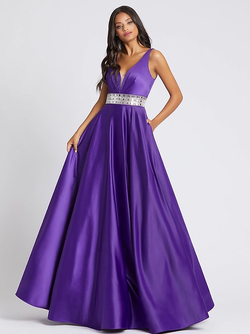 Purple Satin Gown with pockets