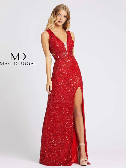 Fully-Sequence Gown with Side Cutouts in Red and Black