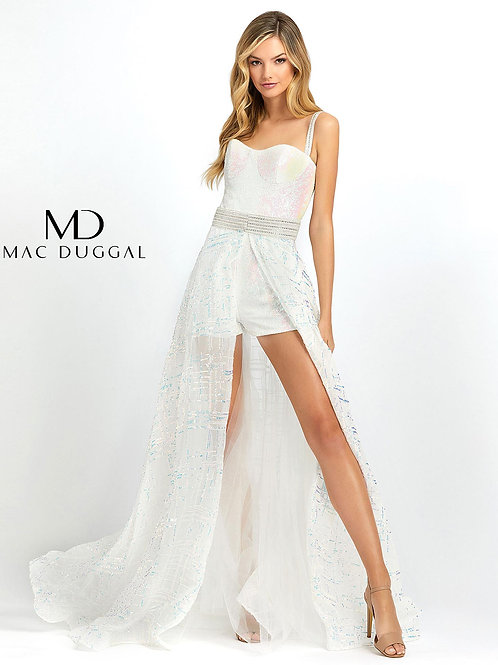 White Sequined Romper With Overskirt Size 0-14