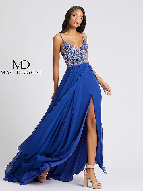 Sapphire Blue Beaded Bodice Chiffon Gown