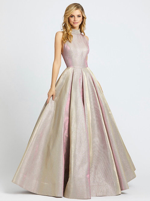 Sleeveless Gown with Beaded High Collar