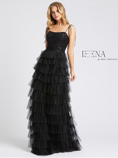 Black Gown with Tiered Skirt