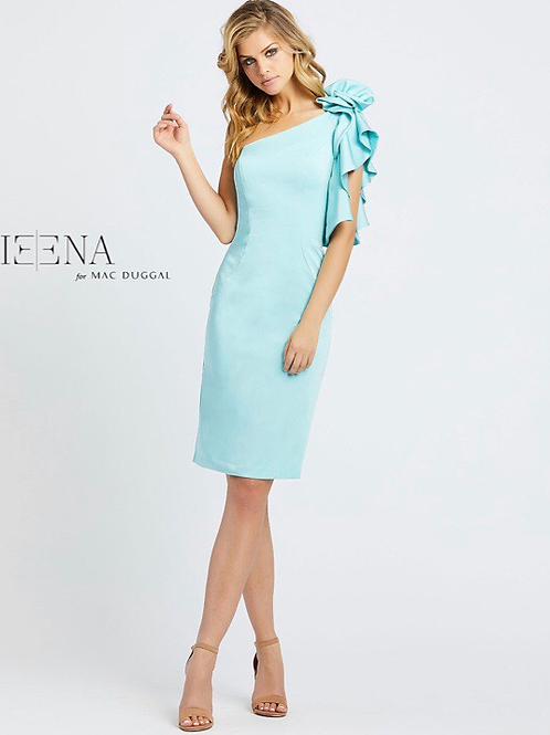 One Shoulder Ruffle Cocktail Dress in Red or Wintergreen