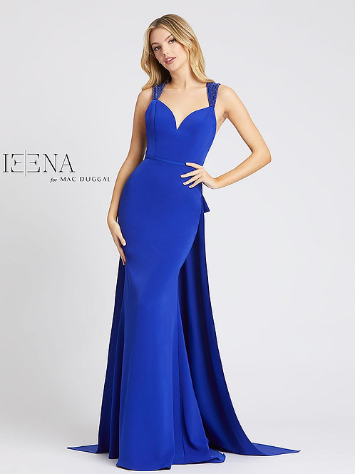 Royal Blue Gown With Beaded Straps and Train