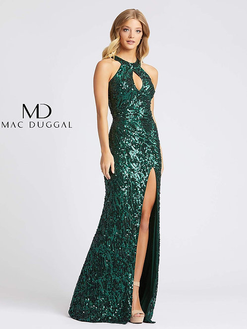 Sequined Gown Keyhole Front & Open Cowl Back