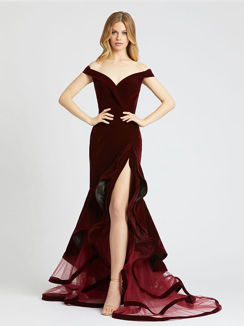 Velvet Off-Shoulder Gown