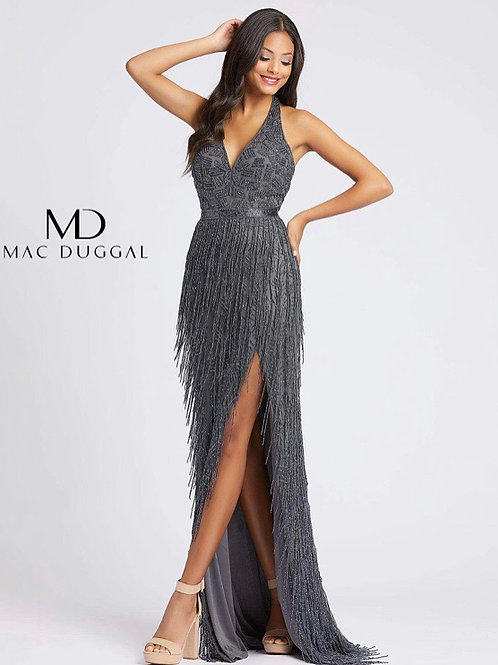 Fringed Beaded Halter gown